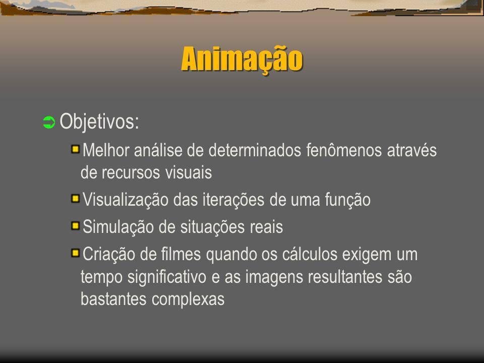 Animação Objetivos: Melhor análise de determinados fenômenos através de recursos visuais Visualização das iterações de uma função Simulação de situações reais Criação de filmes quando os cálculos exigem um tempo significativo e as imagens resultantes são bastantes complexas