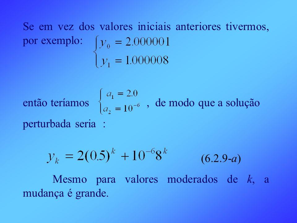 Se em vez dos valores iniciais anteriores tivermos, por exemplo: então teríamos, de modo que a solução perturbada seria : (6.2.9-a) Mesmo para valores