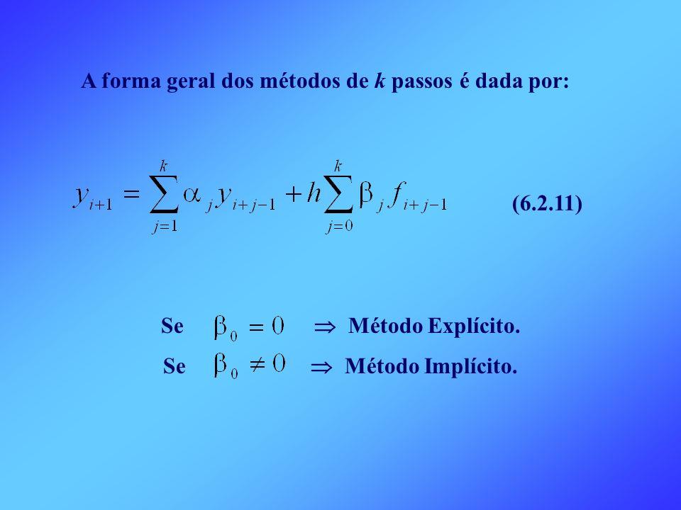 A forma geral dos métodos de k passos é dada por: (6.2.11) Se Método Explícito. Se Método Implícito.