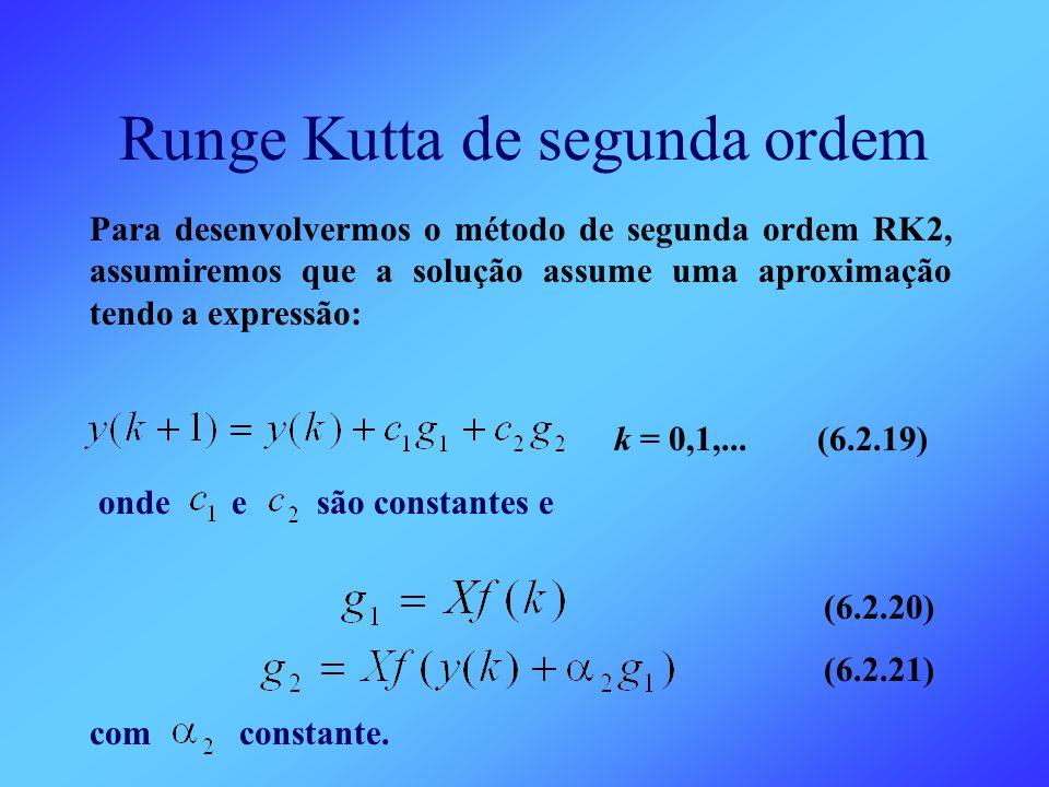 Runge Kutta de segunda ordem Para desenvolvermos o método de segunda ordem RK2, assumiremos que a solução assume uma aproximação tendo a expressão: k
