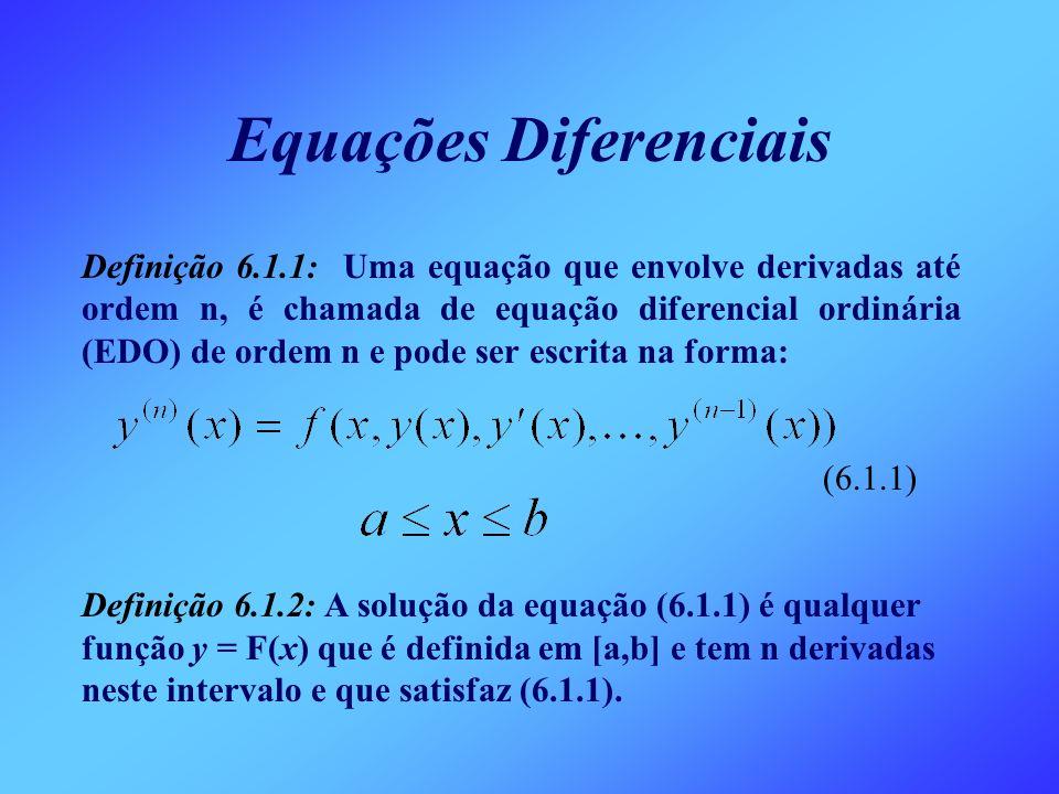 Definição 6.1.1: Uma equação que envolve derivadas até ordem n, é chamada de equação diferencial ordinária (EDO) de ordem n e pode ser escrita na form