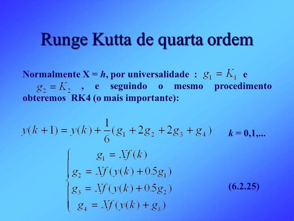 Runge Kutta de quarta ordem Normalmente X = h, por universalidade : e, e seguindo o mesmo procedimento obteremos RK4 (o mais importante): k = 0,1,...