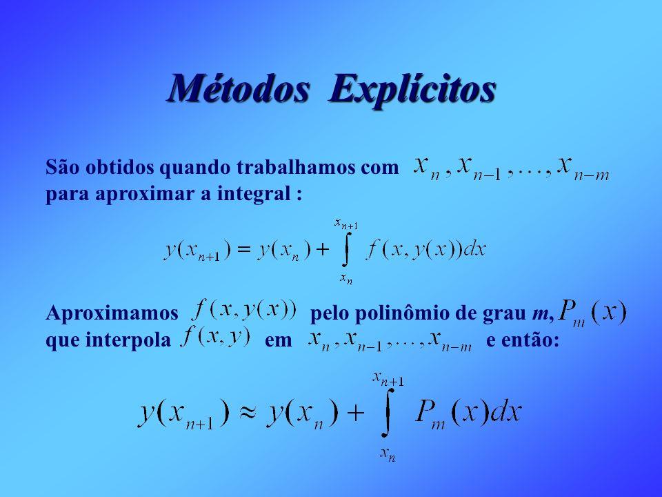 Métodos Explícitos São obtidos quando trabalhamos com para aproximar a integral : Aproximamos pelo polinômio de grau m, que interpola em e então: