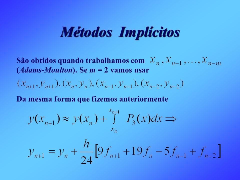 Métodos Implícitos São obtidos quando trabalhamos com (Adams-Moulton). Se m = 2 vamos usar Da mesma forma que fizemos anteriormente