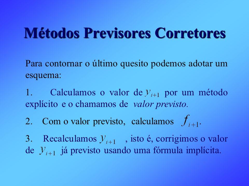 Métodos Previsores Corretores Para contornar o último quesito podemos adotar um esquema: 1. Calculamos o valor de por um método explícito e o chamamos