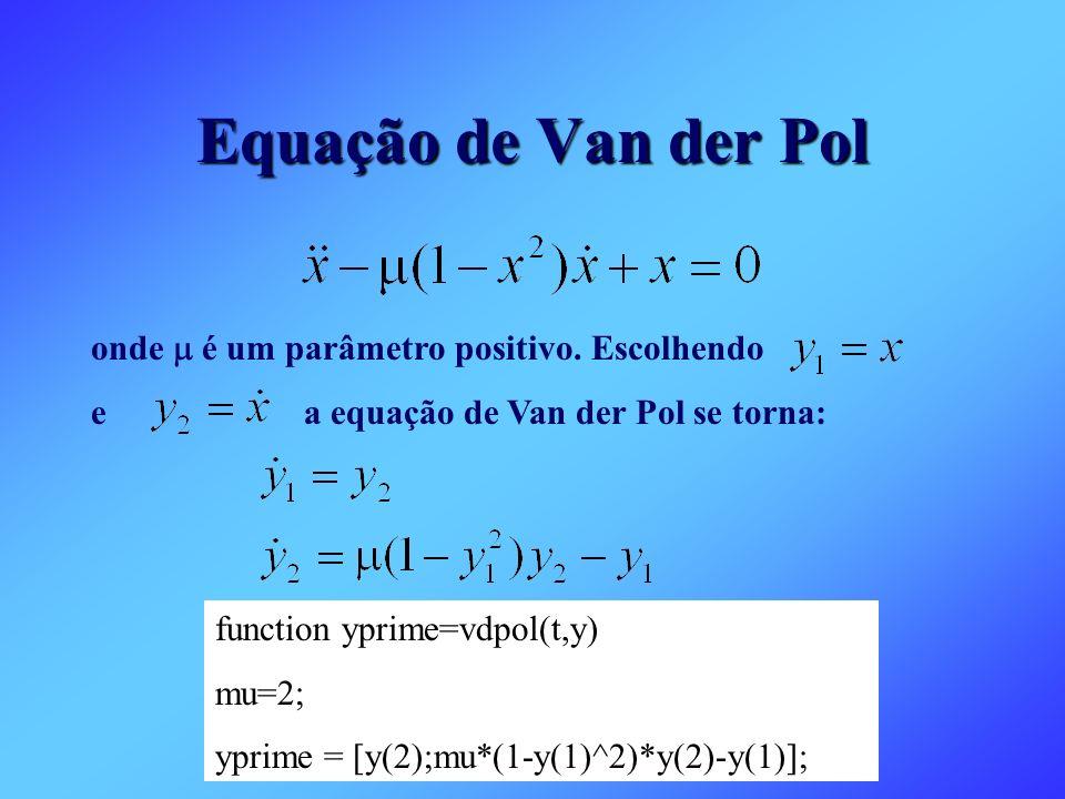 function yprime=vdpol(t,y) mu=2; yprime = [y(2);mu*(1-y(1)^2)*y(2)-y(1)]; Equação de Van der Pol onde é um parâmetro positivo. Escolhendo ea equação d