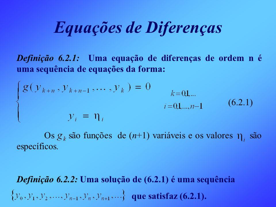 Equações de Diferenças Definição 6.2.1: Uma equação de diferenças de ordem n é uma sequência de equações da forma: (6.2.1) Os são funções de (n+1) var