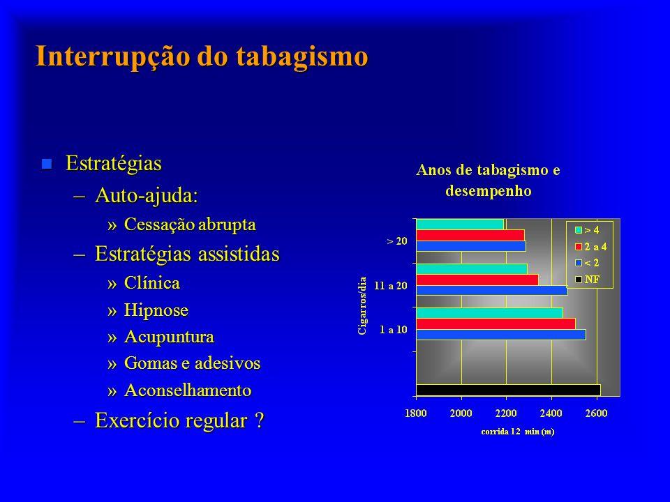 Interrupção do tabagismo n Estratégias –Auto-ajuda: »Cessação abrupta –Estratégias assistidas »Clínica »Hipnose »Acupuntura »Gomas e adesivos »Aconsel