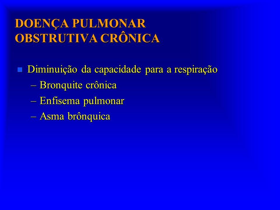 DOENÇA PULMONAR OBSTRUTIVA CRÔNICA n Diminuição da capacidade para a respiração –Bronquite crônica –Enfisema pulmonar –Asma brônquica