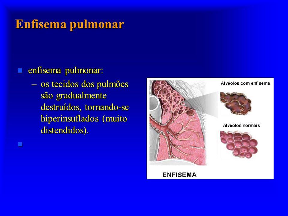 Enfisema pulmonar n enfisema pulmonar: –os tecidos dos pulmões são gradualmente destruídos, tornando-se hiperinsuflados (muito distendidos). n