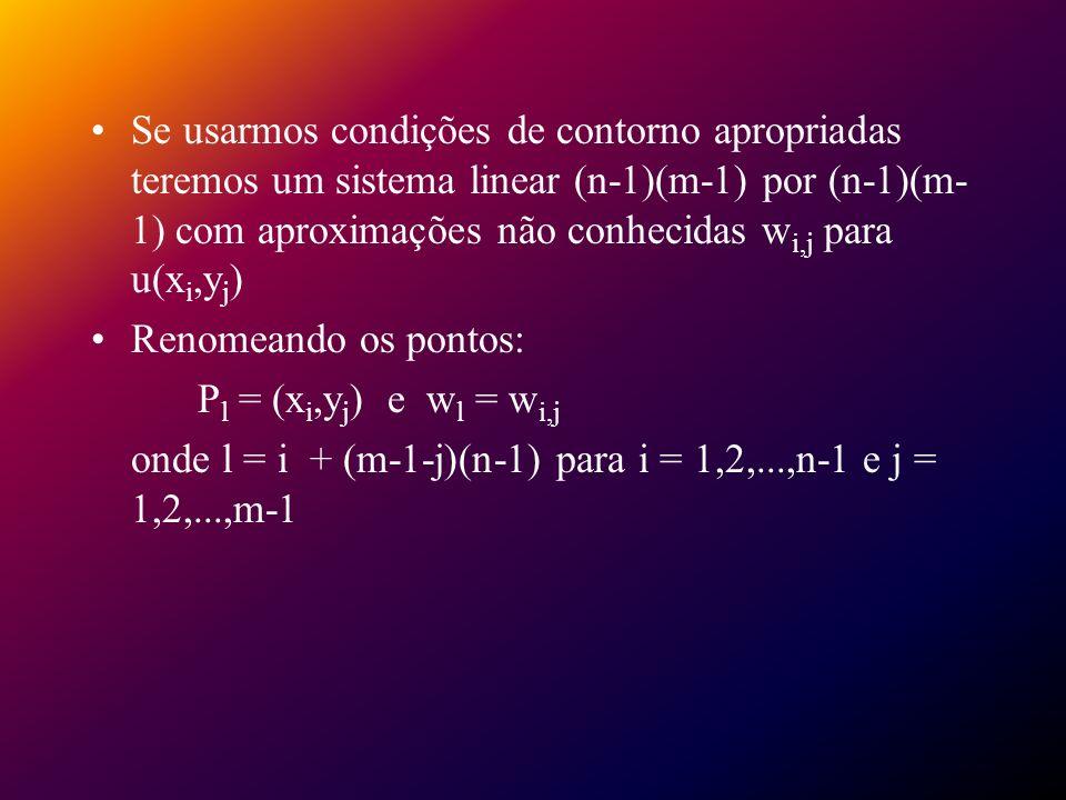 Se usarmos condições de contorno apropriadas teremos um sistema linear (n-1)(m-1) por (n-1)(m- 1) com aproximações não conhecidas w i,j para u(x i,y j