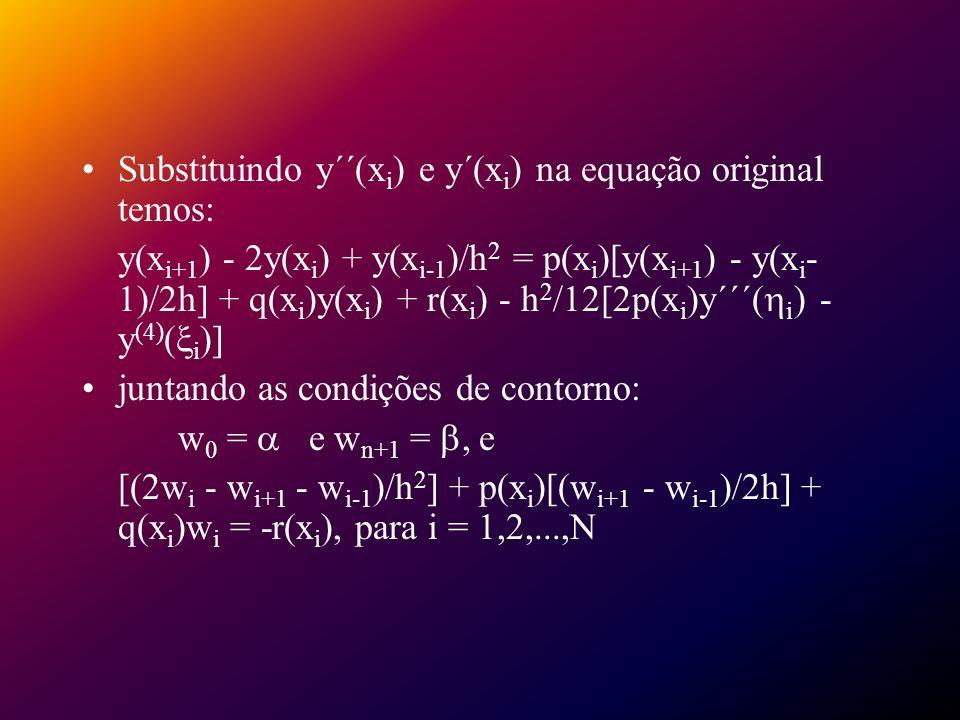 Substituindo y´´(x i ) e y´(x i ) na equação original temos: y(x i+1 ) - 2y(x i ) + y(x i-1 )/h 2 = p(x i )[y(x i+1 ) - y(x i - 1)/2h] + q(x i )y(x i