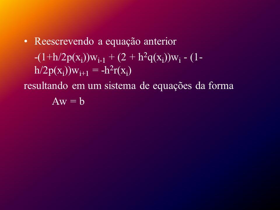 Reescrevendo a equação anterior -(1+h/2p(x i ))w i-1 + (2 + h 2 q(x i ))w i - (1- h/2p(x i ))w i+1 = -h 2 r(x i ) resultando em um sistema de equações