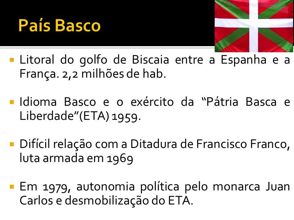 Litoral do golfo de Biscaia entre a Espanha e a França. 2,2 milhões de hab. Idioma Basco e o exército da Pátria Basca e Liberdade(ETA) 1959. Difícil r