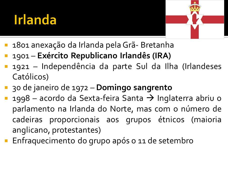 1801 anexação da Irlanda pela Grã- Bretanha 1901 – Exército Republicano Irlandês (IRA) 1921 – Independência da parte Sul da Ilha (Irlandeses Católicos