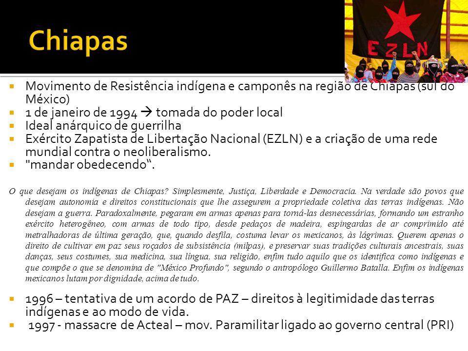 Movimento de Resistência indígena e camponês na região de Chiapas (sul do México) 1 de janeiro de 1994 tomada do poder local Ideal anárquico de guerri