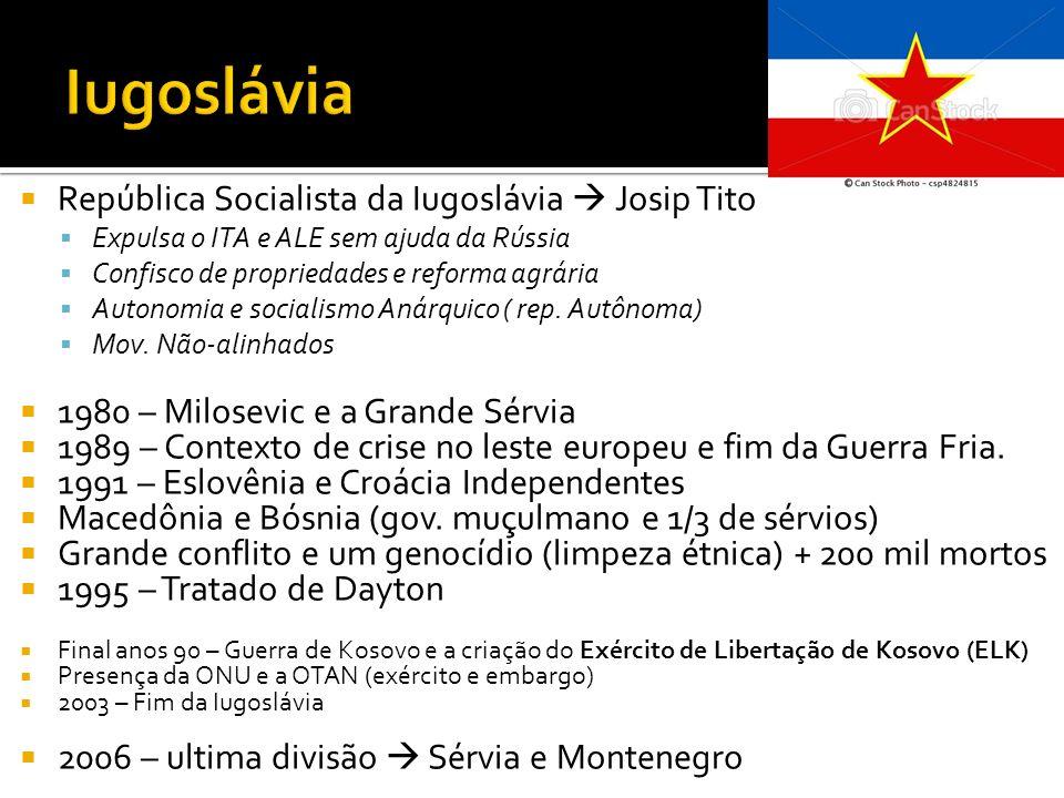 República Socialista da Iugoslávia Josip Tito Expulsa o ITA e ALE sem ajuda da Rússia Confisco de propriedades e reforma agrária Autonomia e socialism