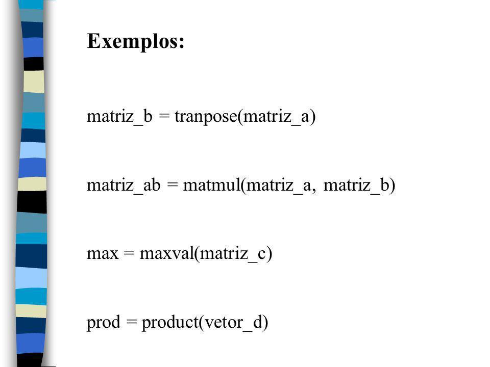 Exemplos: matriz_b = tranpose(matriz_a) matriz_ab = matmul(matriz_a, matriz_b) max = maxval(matriz_c) prod = product(vetor_d)