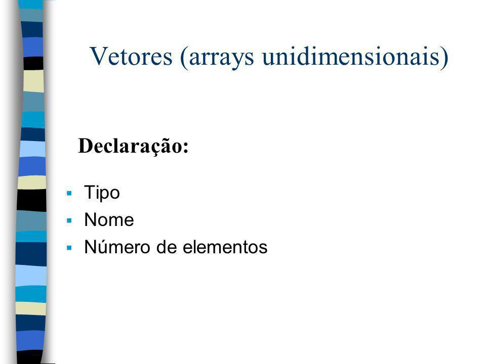 Vetores (arrays unidimensionais) Tipo Nome Número de elementos Declaração: