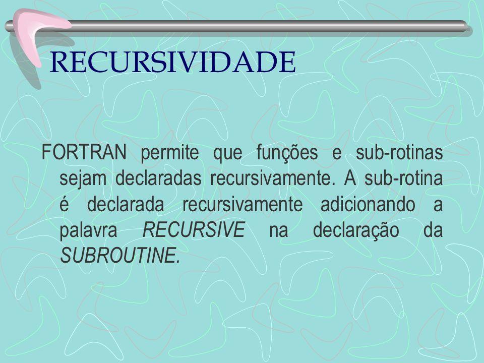 RECURSIVIDADE FORTRAN permite que funções e sub-rotinas sejam declaradas recursivamente. A sub-rotina é declarada recursivamente adicionando a palavra