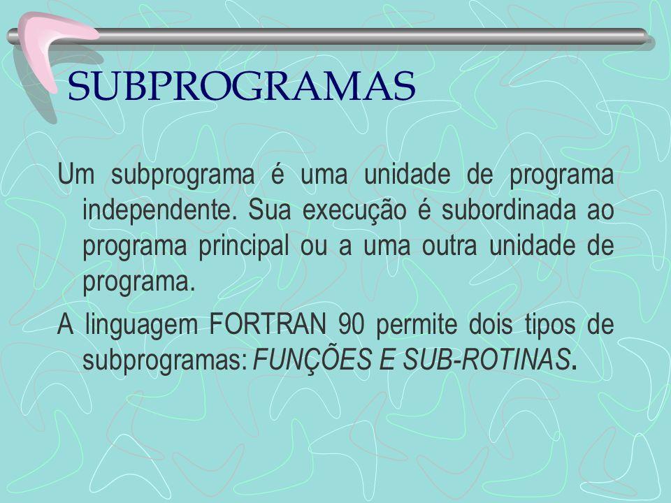 SUBPROGRAMAS Um subprograma é uma unidade de programa independente. Sua execução é subordinada ao programa principal ou a uma outra unidade de program