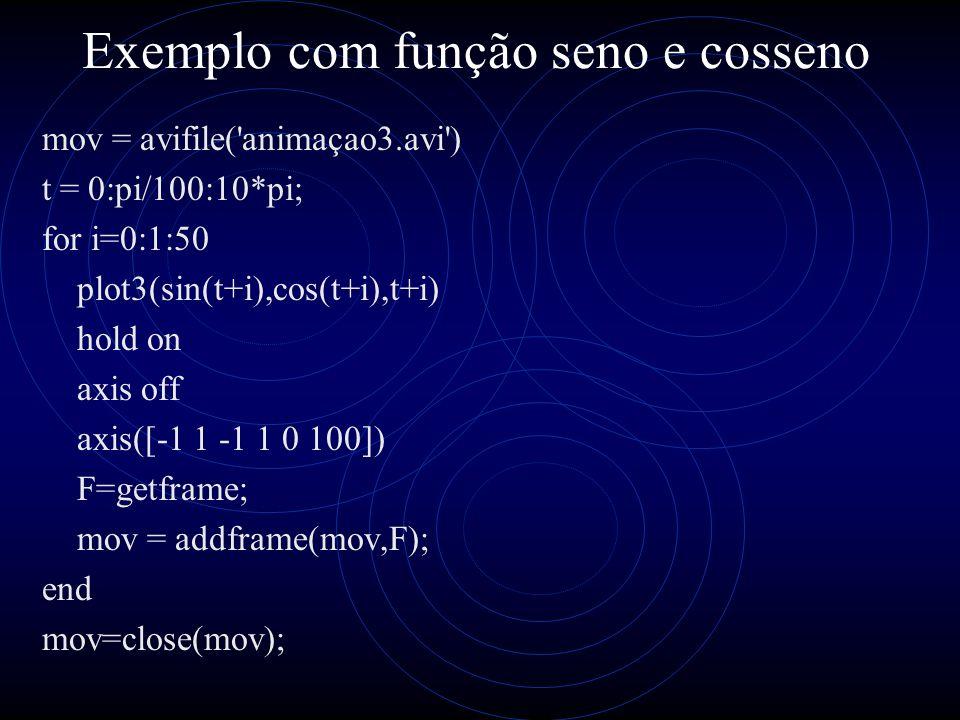 Exemplo com função seno e cosseno mov = avifile('animaçao3.avi') t = 0:pi/100:10*pi; for i=0:1:50 plot3(sin(t+i),cos(t+i),t+i) hold on axis off axis([