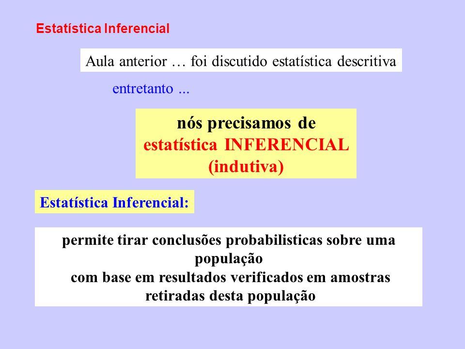 Estatística Inferencial nós precisamos de estatística INFERENCIAL (indutiva) Aula anterior … foi discutido estatística descritiva entretanto... permit