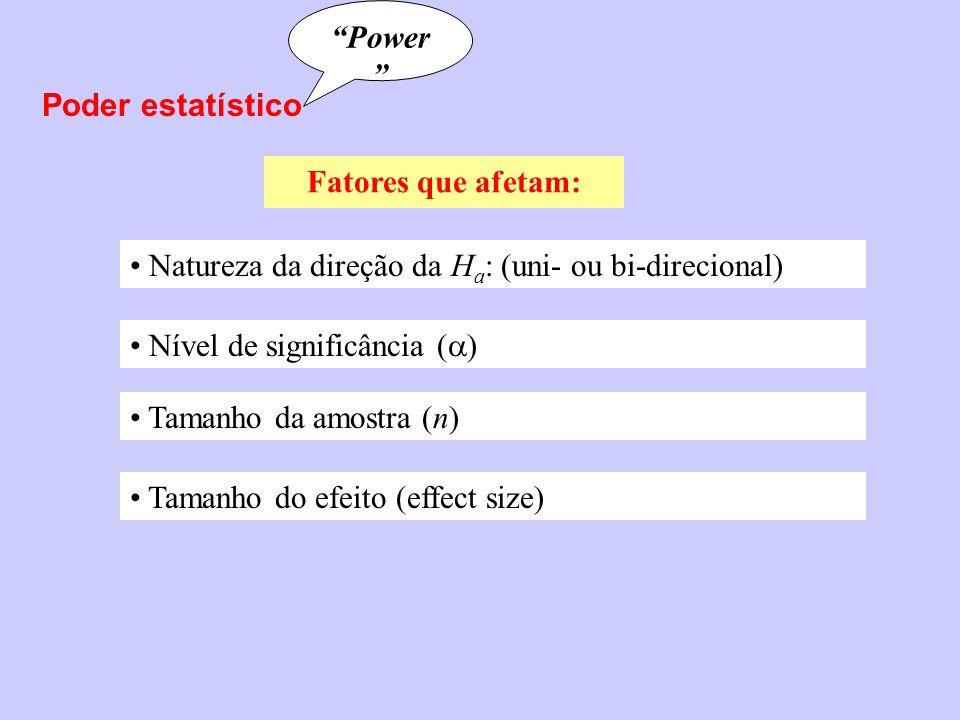 Poder estatístico Power Fatores que afetam: Natureza da direção da H a : (uni- ou bi-direcional) Nível de significância ( ) Tamanho da amostra (n) Tam