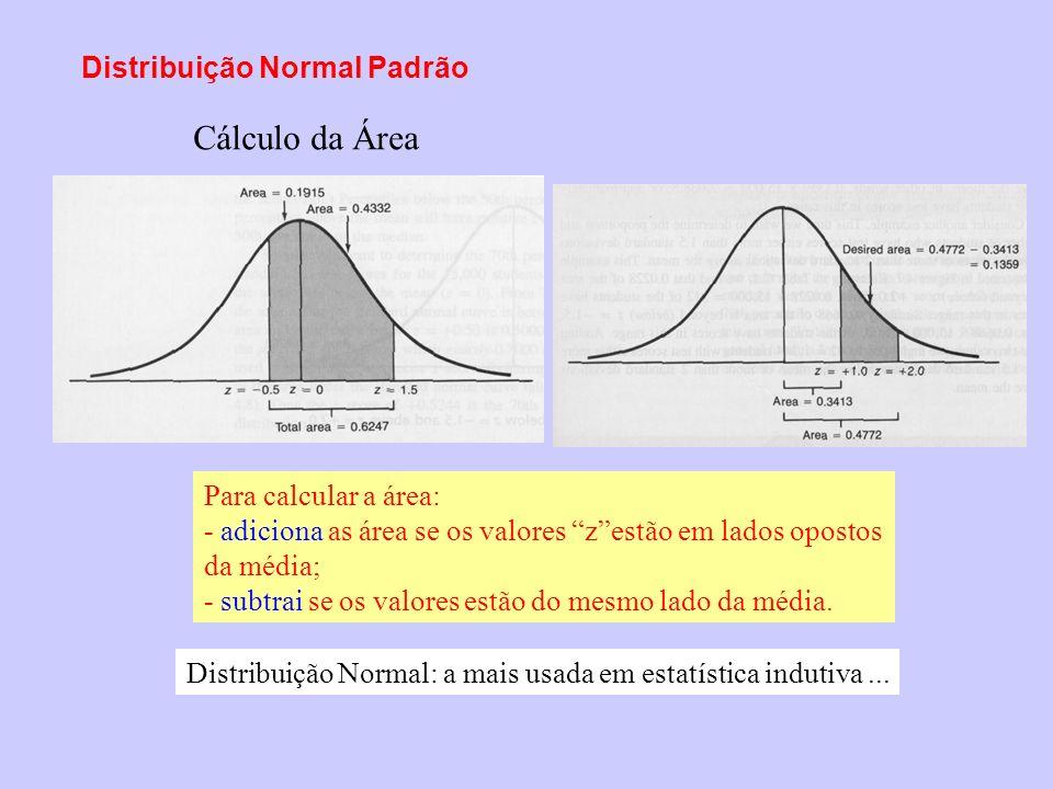 Distribuição Normal Padrão Para calcular a área: - adiciona as área se os valores zestão em lados opostos da média; - subtrai se os valores estão do m