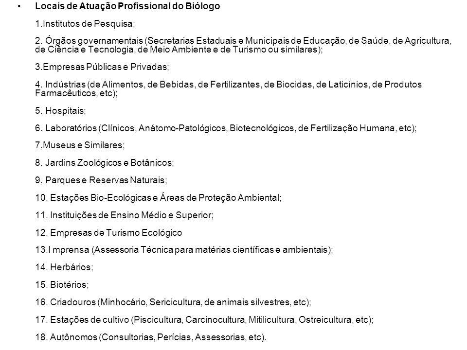 Locais de Atuação Profissional do Biólogo 1.Institutos de Pesquisa; 2.