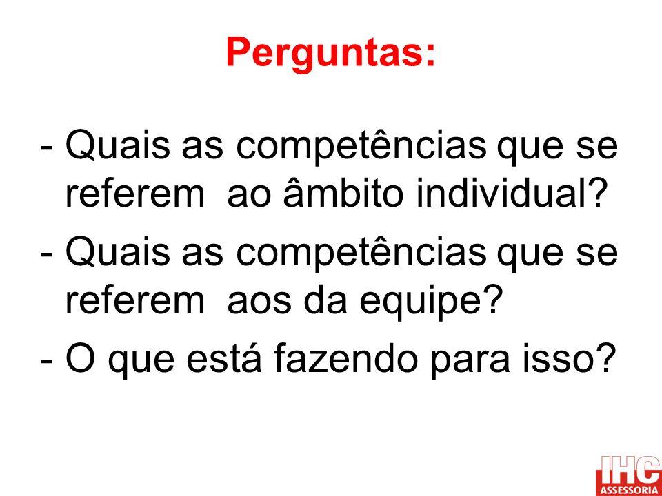 Perguntas: - Quais as competências que se referem ao âmbito individual? - Quais as competências que se referem aos da equipe? - O que está fazendo par