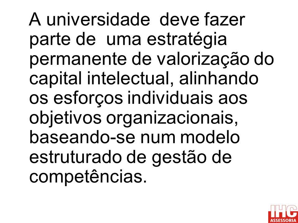 A universidade deve fazer parte de uma estratégia permanente de valorização do capital intelectual, alinhando os esforços individuais aos objetivos or