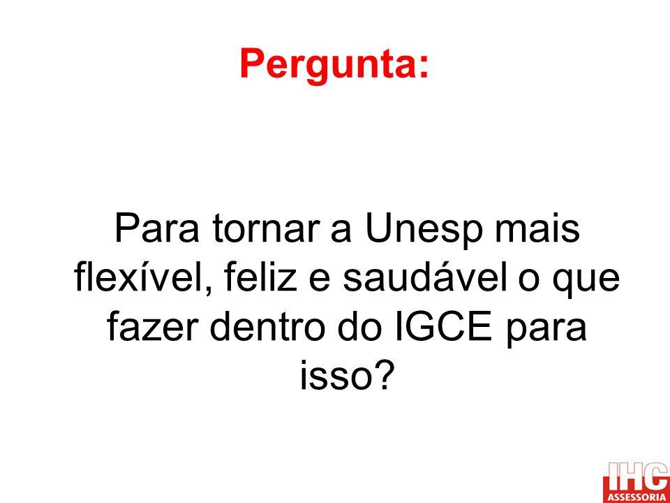 Pergunta: Para tornar a Unesp mais flexível, feliz e saudável o que fazer dentro do IGCE para isso?