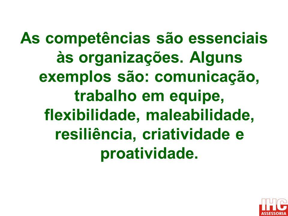 As competências são essenciais às organizações. Alguns exemplos são: comunicação, trabalho em equipe, flexibilidade, maleabilidade, resiliência, criat