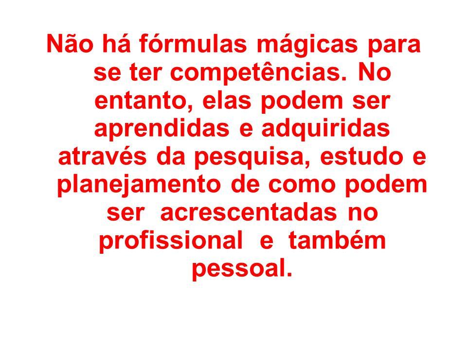Não há fórmulas mágicas para se ter competências. No entanto, elas podem ser aprendidas e adquiridas através da pesquisa, estudo e planejamento de com
