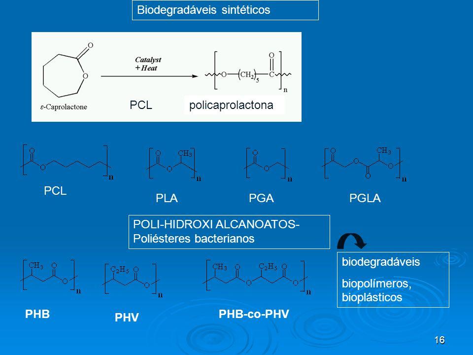 16 PCLpolicaprolactona Biodegradáveis sintéticos POLI-HIDROXI ALCANOATOS- Poliésteres bacterianos PHB PHV PHB-co-PHV biodegradáveis biopolímeros, biop