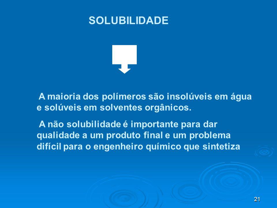 21 SOLUBILIDADE A maioria dos polímeros são insolúveis em água e solúveis em solventes orgânicos. A não solubilidade é importante para dar qualidade a