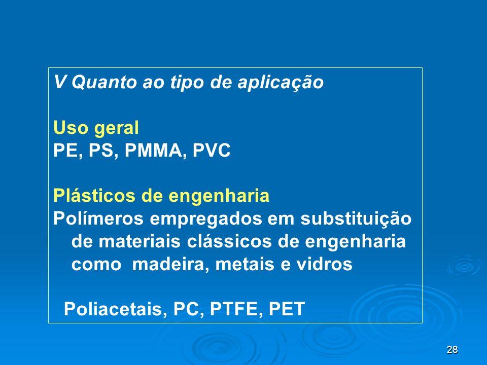 28 V Quanto ao tipo de aplicação Uso geral PE, PS, PMMA, PVC Plásticos de engenharia Polímeros empregados em substituição de materiais clássicos de en