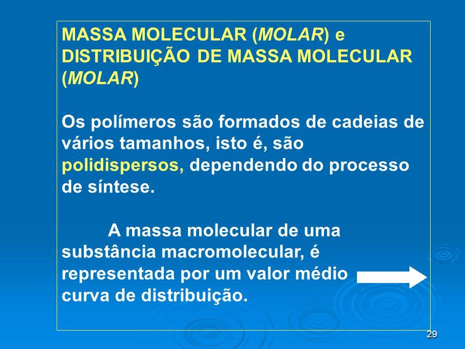 29 MASSA MOLECULAR (MOLAR) e DISTRIBUIÇÃO DE MASSA MOLECULAR (MOLAR) Os polímeros são formados de cadeias de vários tamanhos, isto é, são polidisperso