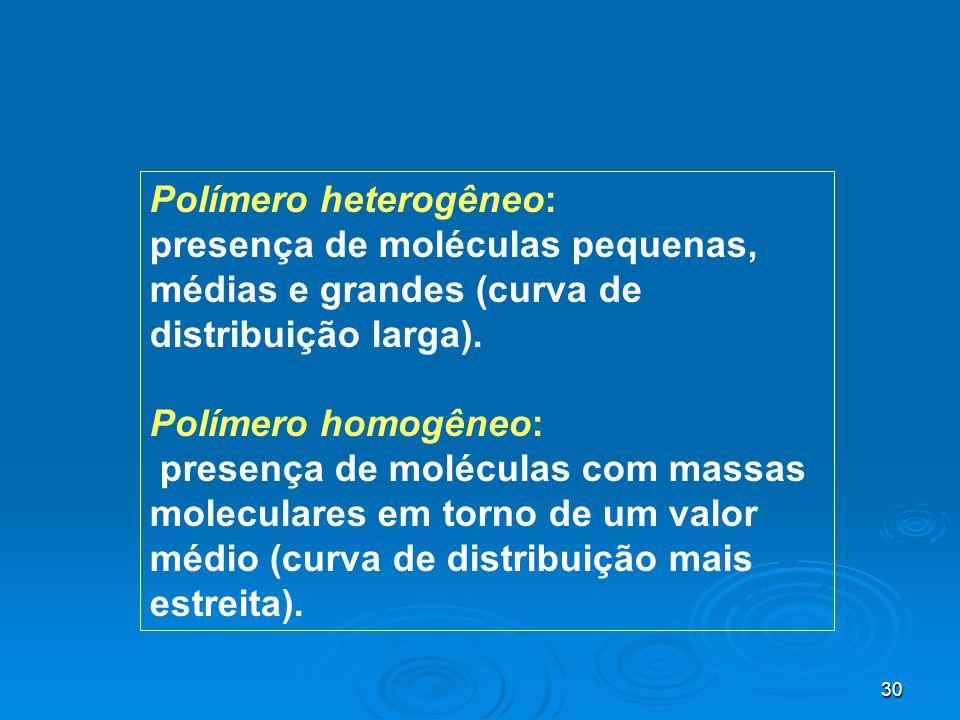 30 Polímero heterogêneo: presença de moléculas pequenas, médias e grandes (curva de distribuição larga). Polímero homogêneo: presença de moléculas com