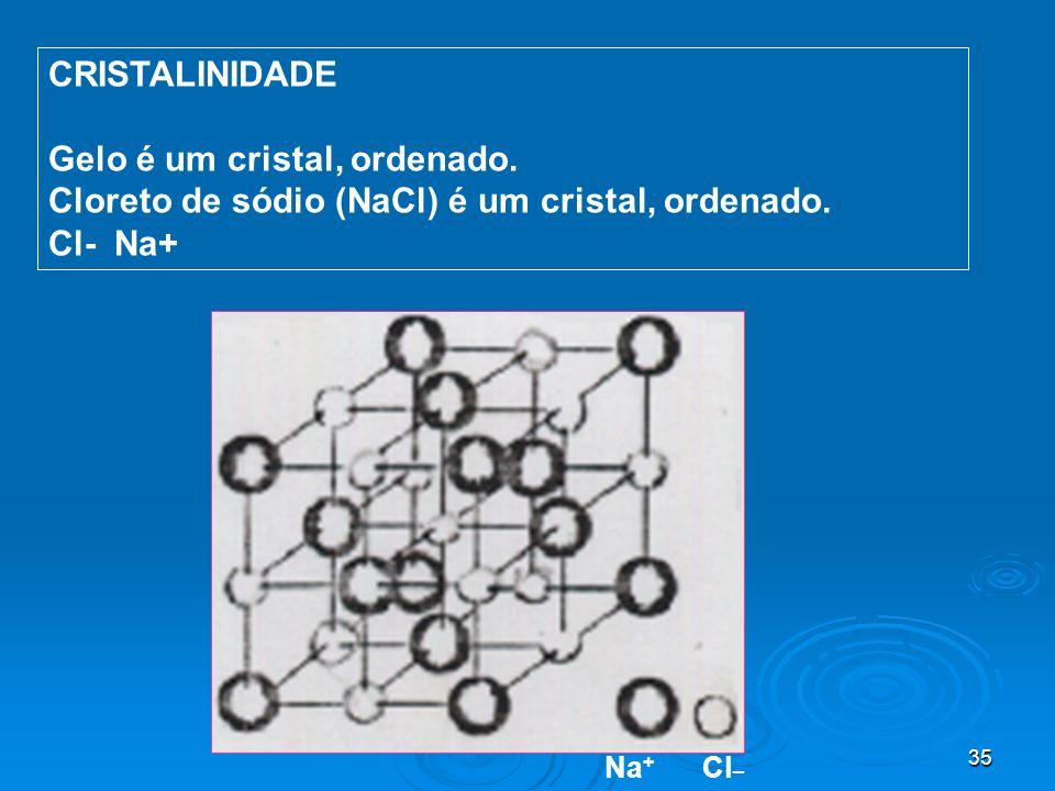 35 CRISTALINIDADE Gelo é um cristal, ordenado. Cloreto de sódio (NaCl) é um cristal, ordenado. Cl- Na+ Na + Cl _