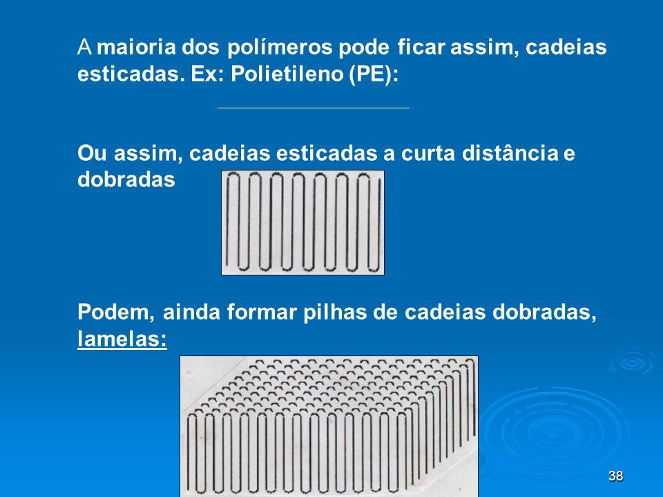 38 A maioria dos polímeros pode ficar assim, cadeias esticadas. Ex: Polietileno (PE): Ou assim, cadeias esticadas a curta distância e dobradas Podem,