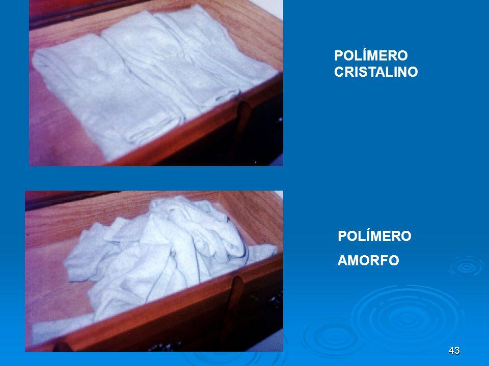 43 POLÍMERO CRISTALINO POLÍMERO AMORFO