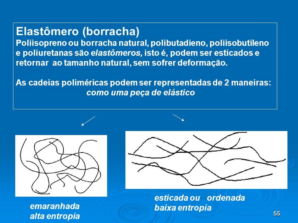 55 Elastômero (borracha) Poliisopreno ou borracha natural, polibutadieno, poliisobutileno e poliuretanas são elastômeros, isto é, podem ser esticados