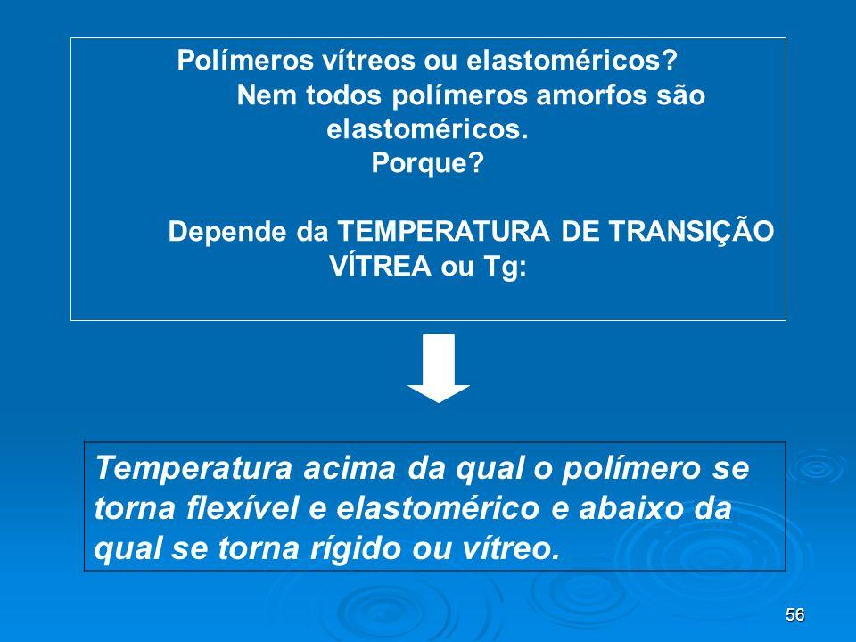 56 Polímeros vítreos ou elastoméricos? Nem todos polímeros amorfos são elastoméricos. Porque? Depende da TEMPERATURA DE TRANSIÇÃO VÍTREA ou Tg: Temper