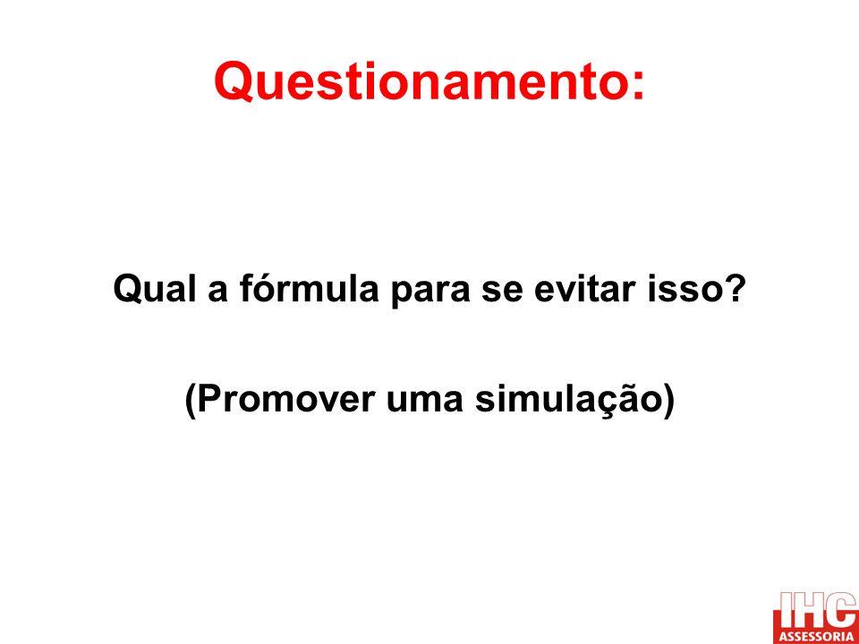 Questionamento: Qual a fórmula para se evitar isso? (Promover uma simulação)