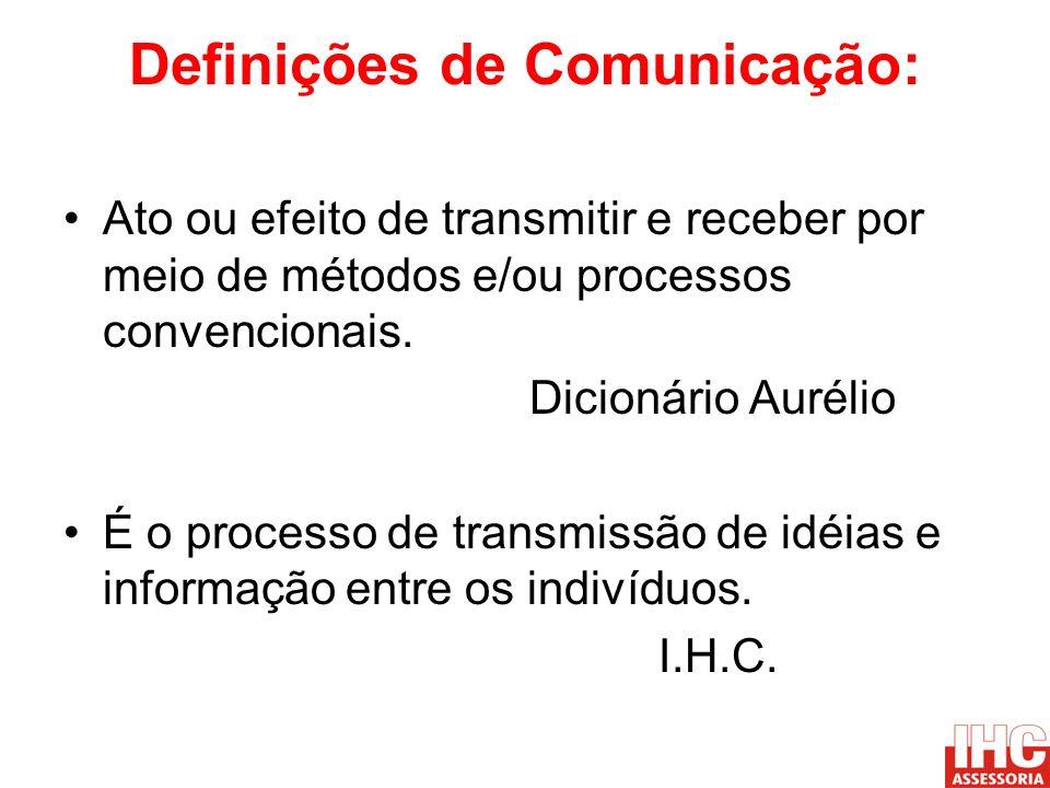 Definições de Comunicação: Ato ou efeito de transmitir e receber por meio de métodos e/ou processos convencionais. Dicionário Aurélio É o processo de