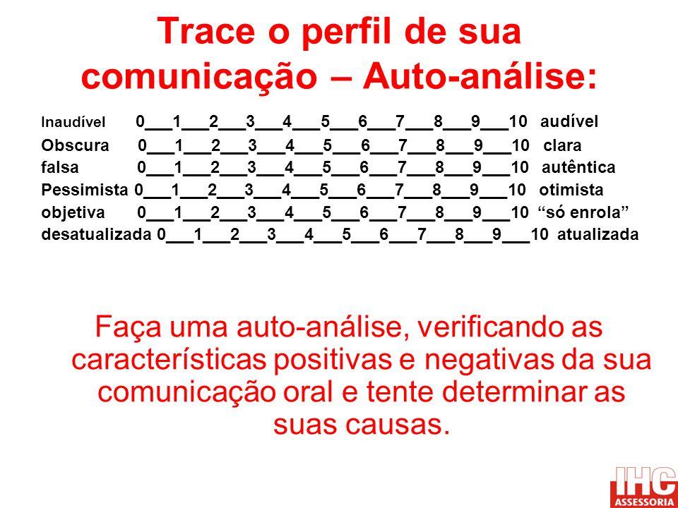 Trace o perfil de sua comunicação – Auto-análise: Inaudível 0___1___2___3___4___5___6___7___8___9___10 audível Obscura 0___1___2___3___4___5___6___7__