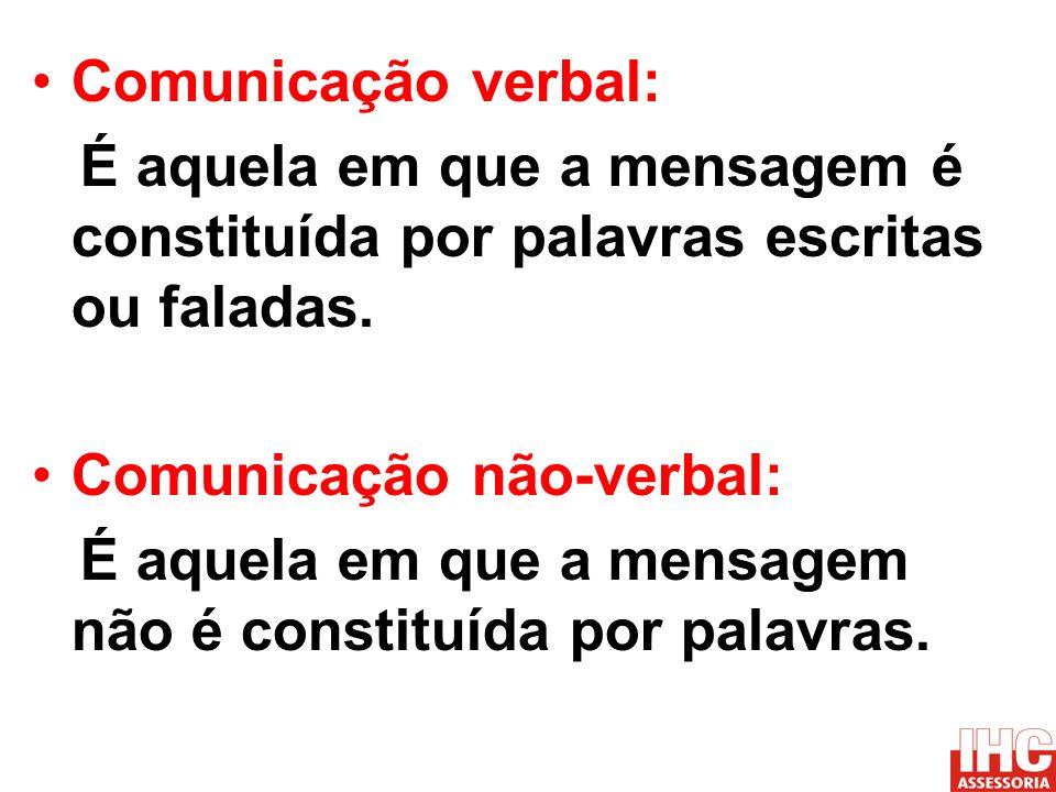 Comunicação verbal: É aquela em que a mensagem é constituída por palavras escritas ou faladas. Comunicação não-verbal: É aquela em que a mensagem não