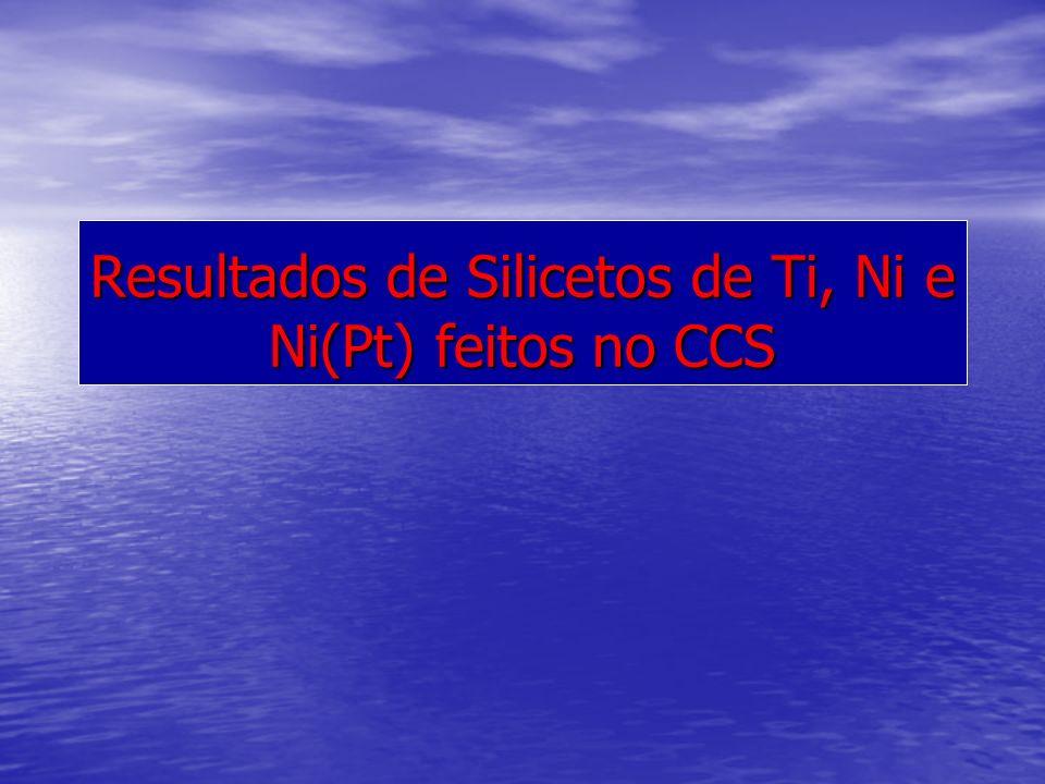 Resultados de Silicetos de Ti, Ni e Ni(Pt) feitos no CCS